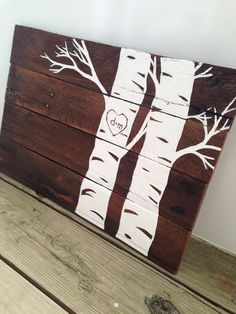 Custom heart in tree pallet wood art - reclaimed wood couples gift - great head board idea