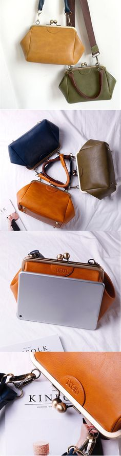 Women PU Leather Vintage Crossbody Bag Stylish Shoulder Bag