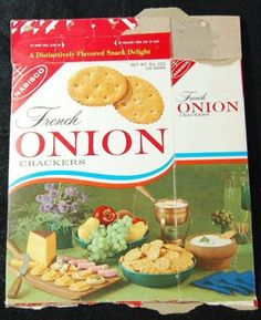 1964-NABISCO-French-Onion-Crackers-Box-Vintage-Food-Packaging Retro Ads, Vintage Advertisements, Vintage Ads, Vintage Food, Vintage Packaging, Food Packaging, 1960s Food, Salty Snacks, French Onion