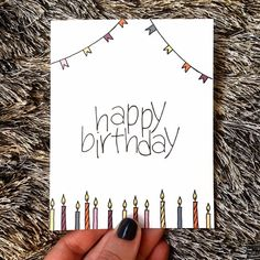 Cute Birthday Card - Unisex - Candles and Banners - Happy Birthday Happy Birthday Cards Handmade, Creative Birthday Cards, Cute Birthday Cards, Birthday Cards For Friends, Bday Cards, Diy Birthday, Birthday Quotes, Handmade Cards, Birthday Humorous
