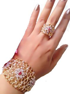 M Creation Gold Plated Bracelet and Ring For Women/Girls - M Creation - 2690301 Gold Plated Bracelets, Diamond Bracelets, Gemstone Bracelets, Ankle Bracelets, Gold Bangles, Sterling Silver Bracelets, Diamond Jewelry, Gold Jewelry, Cartier Bracelet