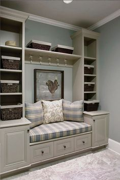 love these built in shelves and seating, hmmm window seat. Built In Shelves, Built Ins, Storage Shelves, Entryway Storage, Shelving, Storage Baskets, Extra Storage, Entryway Closet, Shoe Storage