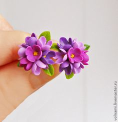 """""""Сирень"""" - серьги гвоздики,8 марта,сирень,цветы,серьги,цветы из полимерной глины"""