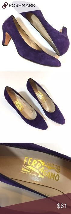"Salvatore Ferragamo Purple Suede Pumps Size 7 AAA Salvatore Ferragamo purple suede pumps size 7 AAA.  The uppers and heels are in good condition; soles show wear as pictured.  Made in Italy.  Height approximately 2 3/4"". Salvatore Ferragamo Shoes Heels"