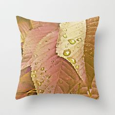 cherry leaves Throw Pillow by Miguel Á. Núñez I. - $20.00