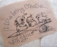 Michelle Palmer Fine Art Ink Illustration on Tea Stained Muslin Sparrow Birds Mouse Studio Friends Sewing Strawberry Buttons Bumble Bee