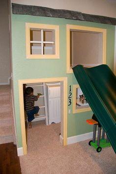 indoor playhouse in basement | indoor playhouse - this even has a doorbell!!! | Basement