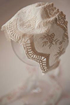NEW Pure Newborn Bonnet, Cotton Lace Baby Bonnet, Embroidered White Bonnet, Newborn Photo Prop, Newborn Only