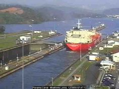 real life time lapse of locks working on the panama canal