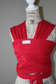 Red Hugseez, soft baby wrap carrier, baby wrap carrier