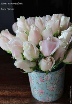 Купить Букет роз Нежность из полимерной глины керамическая флористика - бледно-розовый, букет из роз