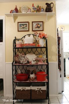 Hello, Dear Ones. I felt it was time to do some flippin' on my baker's rack in the breakfast room. Here it is all dusted and flipped! Bakers Rack Decorating, Decorating Blogs, Bakers Rack Kitchen, Farmhouse Bakers Racks, Iron Furniture, Modern Furniture, Country Kitchen, Home Kitchens, Dream Kitchens