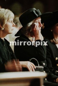 Sept 5, 1997--Duchess of Kent to the left of Frances Shand Kydd mother of princess Diana attending mass at Westminster cathedral requiem mass held night before funeral