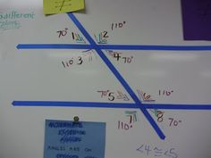 """Angle relationships. I would love to do this on the floor of the classroom or in the hallway then have pairs of students run to things like """"Vertical angles, alternate interior angles, alternate exterior angles, linear pairs, supplementary angles, congruent angles, ect"""" as I call them out."""