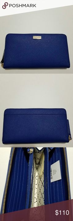 """Kate Spade Wallet Kate Spade Super Cute Wallet • Color: Blue • Material: Sofiano leather • Measurment: 7.5x4x1 • Brand new. Never used • Tag and care card are included • No trade No hold • Plz use OFFER button for reasonable offers. I said """"YES"""" most of the time. kate spade Bags Wallets"""