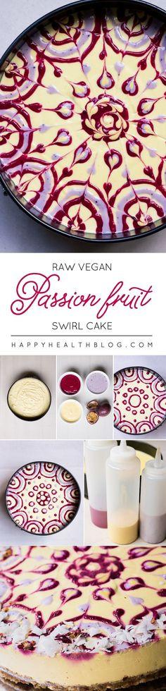 RAW PASSION FRUIT SWIRL CAKE - raw, vegan, swirl, cake, dessert, recipe…