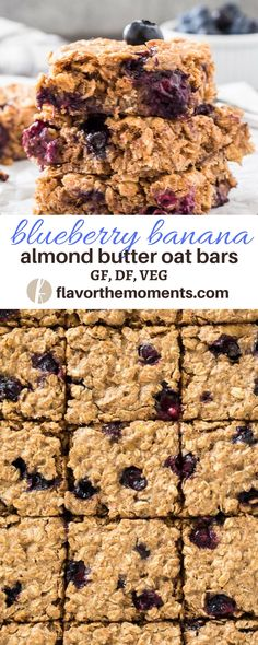 Blueberry Banana Almond Butter Oat Bars are wholesome, flourless bars with no refined sugar.  They're perfect for breakfast and snacks! {GF, DF, VEG} via @FlavortheMoment #blueberry #banana #almondbutter #oatmeal  #bars #breakfast #snacks #glutenfree #vegetarian