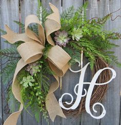 Door Wreath Monogram Wreath Burlap Wreath by HornsHandmade on Etsy