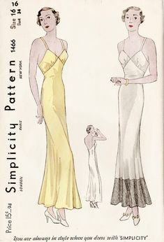vintage sewing pattern vintage lingerie sewing pattern Plunging Back Slip Dress with Flounce Hem bust 34 reproduction Lingerie Patterns, Sewing Lingerie, Vintage Dress Patterns, Vintage Lingerie, Clothing Patterns, Vintage Outfits, Vintage Dresses, 1930s Fashion, Vintage Fashion