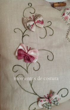 Scroll shaped embroidery done on quilt with fabric made butterflies sewn on each scroll design Silk Ribbon Embroidery, Embroidery Applique, Cross Stitch Embroidery, Embroidery Patterns, Machine Embroidery, Sewing Patterns, Quilt Stitching, Applique Quilts, Sewing Crafts