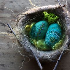 Felted eggs and nest