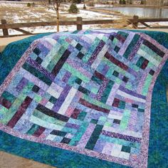 Teal and Purple Batik Handmade Quilt | PatchworkMountain - Quilts on ArtFire