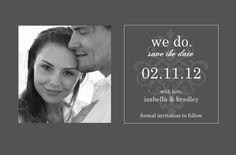 Gray And Elegant White Flourish (Set) Save The Date by PurpleTrail.com