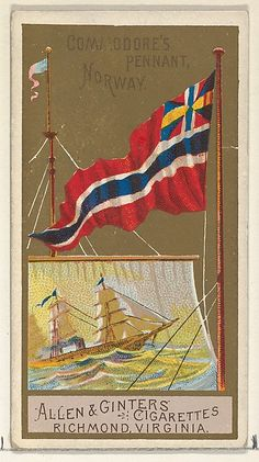 Commodore's Pennant, Norway, from the Naval Flags series for Allen & Ginter Cigarettes Brands by Allen & Ginter, Drawings and Prints Medium: Commercial color lithograph The Jefferson R. Cigarette Brands, Cigarette Box, Naval Flags, Vintage Dance, Pin Up Posters, Trondheim, Flag Design, Old Postcards, Coat Of Arms