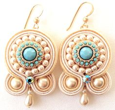 Soutache Earring Embroidered Earring Soutache by PureBlissJewelry Gold Bar Earrings, Sapphire Earrings, White Earrings, Stud Earrings, Shibori, Fabric Earrings, Sapphire Color, Rare Gemstones, Soutache Jewelry