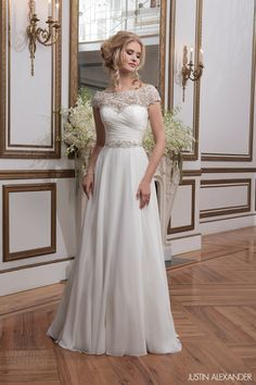 justin alexander 2016 bridal embellished cap sleeve a-line wedding dress ruched bodice beaded waist #alineweddingdress #weddings #weddingdress