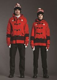 Olympic (Canada) modelled on The trading blankets of The Hudson's Bay Co.  True North, eh? - I WANT THIS COAT.