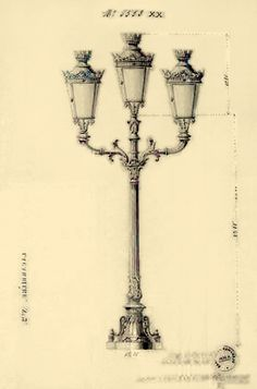"A triple-branched street lamp made by Lacarrière, century, for illuminating the ""Puente de España"" over the Pasig River. Manila, Street Lamp, History Facts, Philippines, 19th Century, Old Things, Sweeney Todd, Spanish, River"