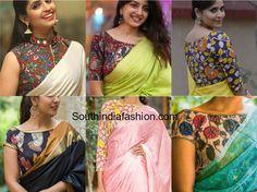 Kalamkari blouse with plain sarees plain saree with kalamkari blouse kalamkari blouses with diffe sareesKalamkari Blouse Designs That Will Leave You Awestruck Timeless Kalamkari Sarees With Matching Blouse DesignsLatest … Kurta Designs, Kalamkari Blouse Designs, Kerala Saree Blouse Designs, Kalamkari Skirts, Kalamkari Saree, Simple Blouse Designs, Blouse Neck Designs, Blouse Styles, Blouse Patterns