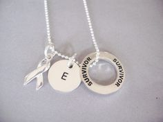 Personalized Cancer Survivor Necklace with Ribbon, Ring and Custom Hand Stamped Initial Disk.