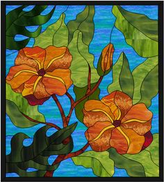Stained Glass Panel Quot Red Hibiscus Quot Stained Glass Panels