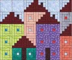 New Patchwork Patterns Appliques Log Cabins Ideas Log Cabin Patchwork, Patchwork Quilt, Log Cabin Quilt Pattern, Log Cabin Quilts, Patchwork Patterns, Quilt Block Patterns, Mini Quilts, Log Cabins, House Quilt Block