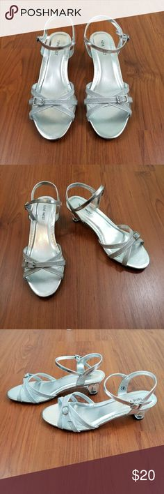 "Nine West fairytale sparkle sandal heels size 5 Final asking price.  Excellent preowned condition. Adjustable ankle straps. Definitely fairytale princess vibes!  -Heel height 1.75"" Nine West Shoes Heels"
