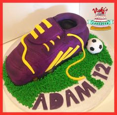 purple adidas football boot cake with yellow laces Adidas Football Boot Cake