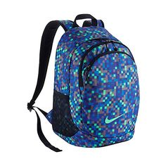 Nike Legend Backpack ($65) ❤ liked on Polyvore featuring bags, backpacks, blue, school & day hiking backpacks, water resistant backpack, blue backpack, water resistant bag, knapsack bags and nike bag