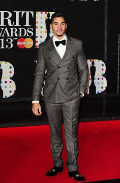 Louis Smith tapped into his inner gentleman with this tweed Sand suit, bow tie and velvet slippers Louis Smith, Velvet Slippers, Double Breasted Blazer, Tuxedo, Gentleman, Athlete, Suit Jacket, Suits, Jackets