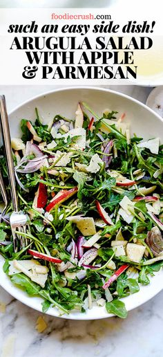 SO EASY ARUGULA SALAD WITH APPLE PARMESAN The fresh bite of this arugula salad with a simple lemon dressing and shaved Parmesan is made three ways for three easy salad recipe ideas to go with any dinner s main course meal Apple Salad Recipes, Fresh Salad Recipes, Side Salad Recipes, Salad Recipes For Dinner, Dinner Salads, Chicken Salad Recipes, Healthy Salad Recipes, Meal Recipes, Kitchens