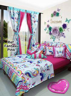 Ref: Fantasy Pink 💖  Disponible en cortinas, cojines, juegos de baño y sábanas en todas las medidas. #Unicorn #Dalotex #Lenceria #Hogar #Sabanas #moda #colors #Lila #SabanasDalotex #Unicornio #Fucsia #rosa #Amatista #Chicas #Teens #Girls #Fashion #Fantasy #Dreams Girl Bedroom Designs, Bedroom Themes, Girls Bedroom, Unicorn Bedroom Decor, Baby Room Decor, Bed Cover Design, Unicorn Bed Set, Dream Rooms, My New Room