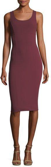Michael Kors Wool Crepe Scoop-Neck Sheath Dress