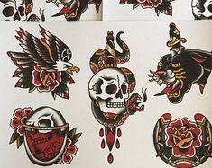 Traditional tattoo flash printed on linen paper Traditional Tattoo Artwork, Traditional Mandala Tattoo, Traditional Tattoo Old School, Traditional Tattoo Design, Traditional Tattoo Flash, Tattoo Flash Sheet, Tattoo Flash Art, Bird Hand Tattoo, Bull Tattoos