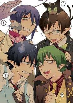 Characters, Left to Right: Mephisto Pheles, Okamura Yukio, Okamura Rin, and Amaimon. DEMON BROTHERS by aonoExorcist15 on deviantART