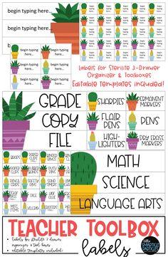 Cactus themed Teacher Toolbox Labels. #teachertoolbox #classdecor #tpt #backtoschool Teacher Toolbox Labels, Teachers Toolbox, Teacher Supplies, Teacher Organization, Teacher Tools, New Teachers, Your Teacher, Organized Teacher, Organization Ideas