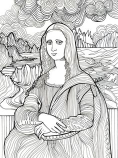 Mona Lisa #adult #colouring Más
