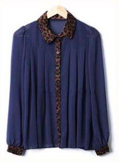 Stiching Leopard Collar Shirt Navy Blue S136,  Top, Stiching Leopard Collar Shirt Navy Blue, Chic, <3