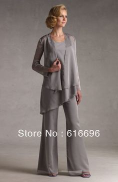 Free Shipping Fashion Grey Crew Neckline   Ruffles   Chiffon   Mother of the Bride Pant Suits Wedding Mother Suits DH-02 US $90.38