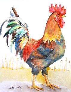 ooakOriginal Watercolor Rooster in 8x10 by asho on Etsy, $20.00